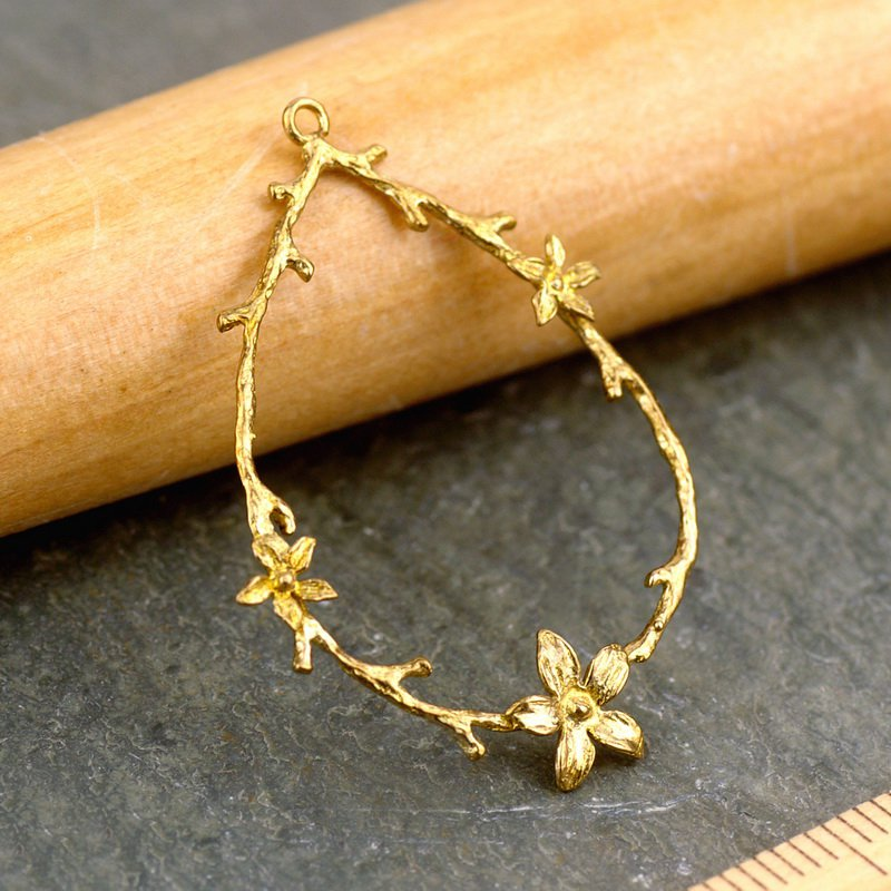 Solid Brass Branch,Leaf and Flower Waterdrop Ring Pendant Earing be43