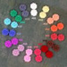 16pcs Colorful Resin Garden Flowers Cabochons-15 Colors Choice-16mm Cameo Flat Back-P226