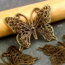 Antique Bronze Brass Filigree Butterfly Charms 36x26mm be37b(8pcs)