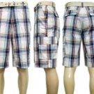 Cargo Plaid Shorts w/Belt by Eddie Domani