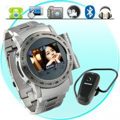 Gauntlet - Stainless Steel Quad Band Watchphone + Spy Camera + MP4