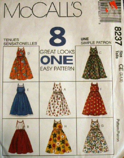Girls Dresses pattern M 8237 - FREE SHIPPING