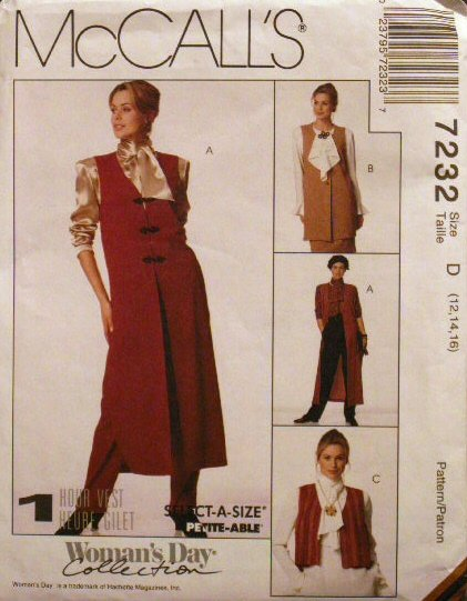 Misses' Vest Pattern - FREE SHIPPING