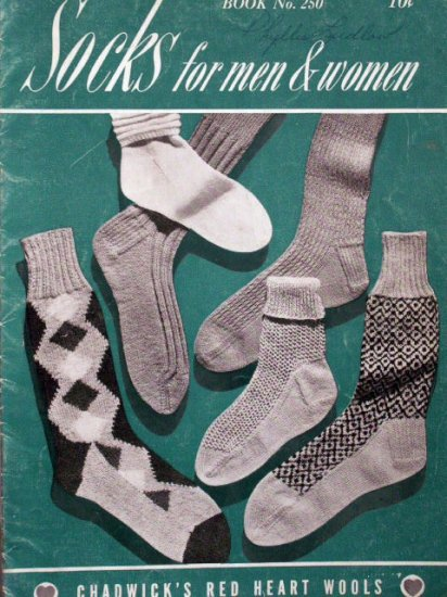 SOCKS for Men & Women Knit Pattern Book  1948  FREE SHIPPING