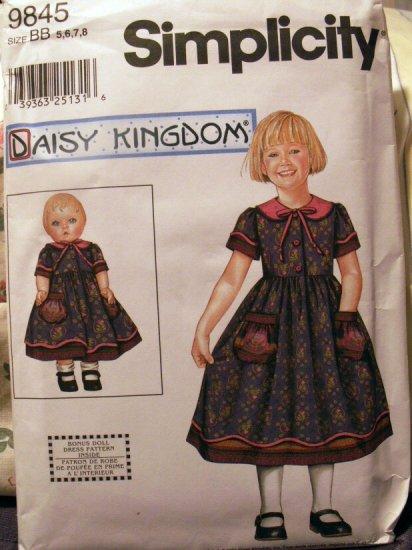 Daisy Kingdom Dress With Doll Dress Pattern S 9845 - FREE SHIPPING