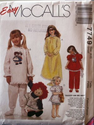 Raggedy Ann and Andy McCall's 7749  Uncut  ALWAYS FREE SHIPPING