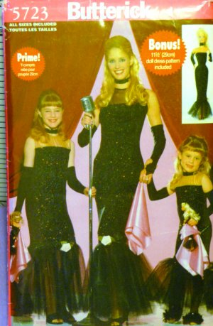 Mom, Daughters & 11.5 Inch Doll Costume Pattern All Sizes B 5723 FREE SHIPPING
