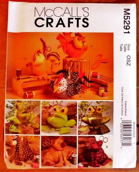 Animal Sewing Caddies pattern M 5291  FREE SHIPPING