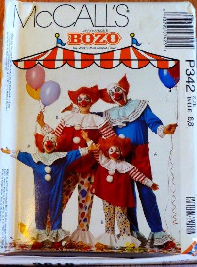 Bozo The Clown Costume Pattern child 6-8 Rare Collector  FREE SHIPPING