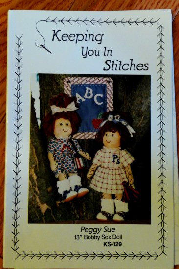 Peggy Sue Rag Doll with bobby sox pattern  FREE SHIPPING