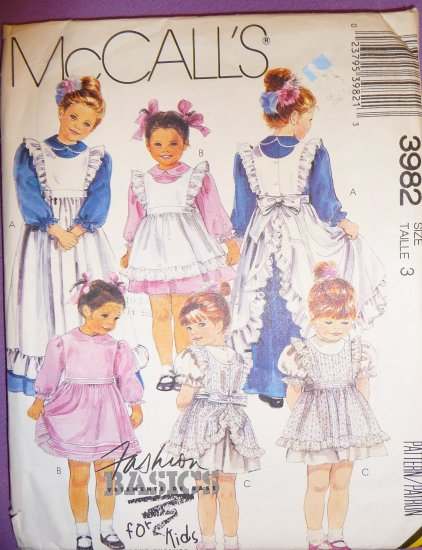 M 3982 Size 3 Girls Easter Dresses & Pinfores Pattern (3 styles)   FREE SHIPPING