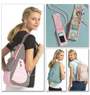 Backpack and Various Music Device Player Covers Pattern.  B 5054 - FREE SHIPPING