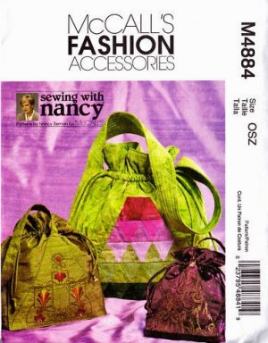 Sewing With Nancy Zieman Drawstring Bags Pattern M 4884 - FREE SHIPPING