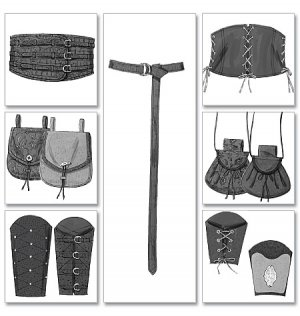 Making History B 5371 Men/Misses Wrist Bracers, Corset, Belt & Pouches Pattern - FREE SHIPPING