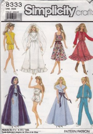 Vintage Barbie Wardrobe Pattern Simplicity 8333 - FREE SHIPPING