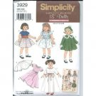 18 Inch Doll Clothes Pattern Vintage Reprint S 3929- FREE SHIPPING