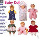 Doll Clothes Pattern in 2 sizes B 5729 - FREE SHIPPING