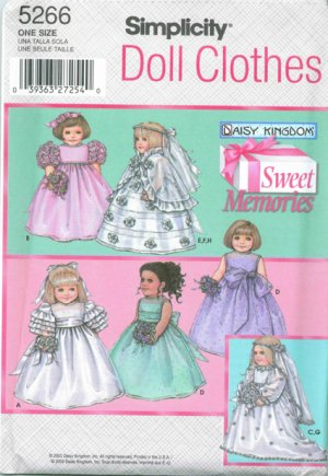Daisy Kingdom Bridal Gowns and Bride Maid Gowns for 18 inch Dolls S 5266- FREE SHIPPING