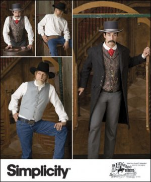 Old West Frock Coat, Vest & Shirt Pattern S 2895 - FREE SHIPPING