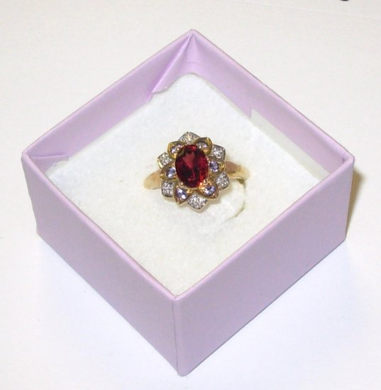RING RHODOLITE GARNET IOLITE AND DIAMOND SET IN 10K YELLOW GOLD SIZE 7 NEW