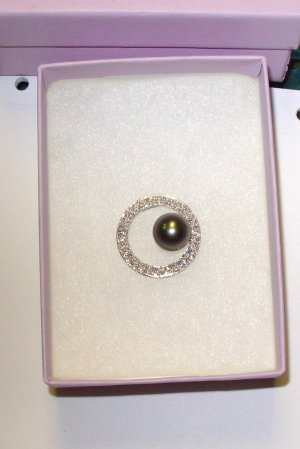 PEARL PENDANT SLIDE 9+MM TAHITIAN BLACK PEARL WITH DIAMOND ACCENT SET IN 10K WG NEW
