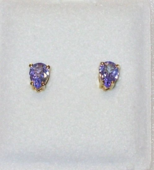 TANZANITE EARRINGS PEAR POST BACK SET IN 14K YELLOW GOLD NEW GENUINE FROM THE EARTH TOP COLOR
