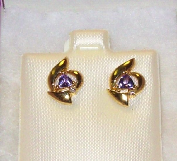 TANZANITE EARRINGS TRILLIONS POST BACK SET IN 14K YELLOW GOLD NEW GENUINE FROM THE EARTH TOP COLOR