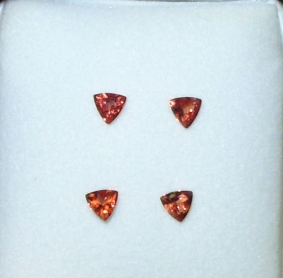 ANDESINE CHERRY RED TRILLION CUT SET OF 4 5MM TRILLIONS LOOSE GEMSTONE