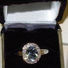 RING AQUAMARINE AND DIAMONDS SET IN 14K YELLOW GOLD NEW SIZE 6