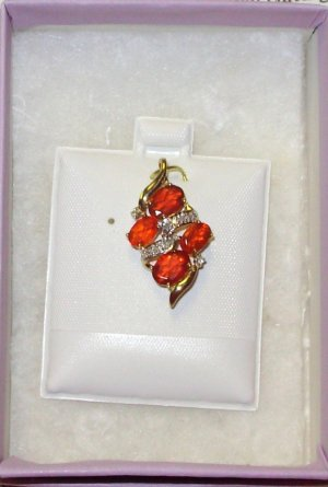 SLIDE PENDANT FIRE OPAL DIAMONDS SET IN 10K YELLOW GOLD GENUINE FROM THE EARTH