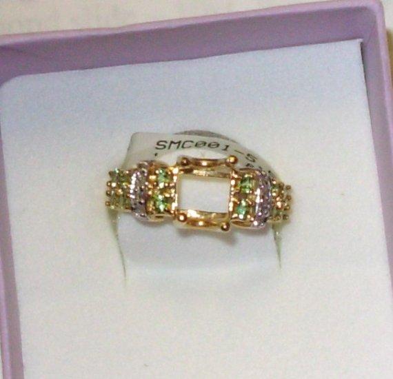 SEMI MOUNT 14KT YELLOW GOLD WITH TSAVORITE DIAMONDS HOLDS 8X6 EMERALD CUT SIZE 5.5