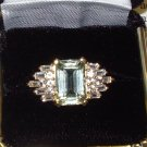 RING PRASIOLITE AND WHITE TOPAZ SET IN 14K YELLOW GOLD NEW SIZE 8 NEW ART NOUVEAU DESIGN HUGE