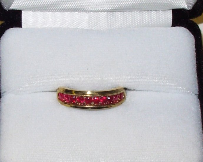 RING CHANNEL SET RUBIES IN 14K YELLOW GOLD NEW SIZE 7