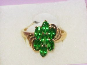 TSAVORITE GARNET RING SEVEN STONE FLORAL SETTING IN 14K YELLOW GOLD NEW SIZE 7