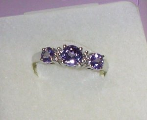 TANZANITE AND DIAMOND RING THREE ROUNDS IN 14K WHITE GOLD NEW SIZE 7