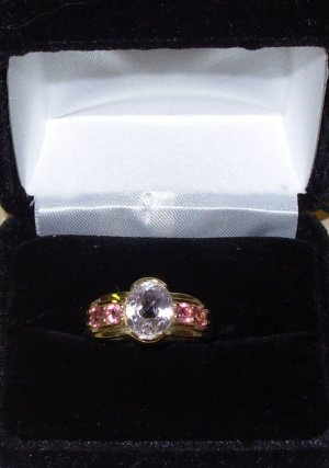 KUNZITE AND PINK SAPHIRE RING SET IN 14K YELLOW GOLD NEW SIZE 7