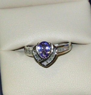 GEMSTONE RING TANZANITE AND DIAMONDS INVERTED PEAR SET IN 14K WHITE GOLD SIZE 8 NEW ELEGANT STYLE