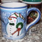 CHRISTMAS COFFEE MUG PACIFIC RIM SNOWMAN SNOWFLAKES CERAMIC