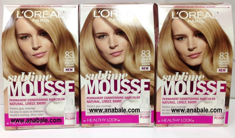 Lot Of 3 - L'Oreal Paris Sublime Mousse by Healthy Look Hair Color, 83 Golden Medium Blonde