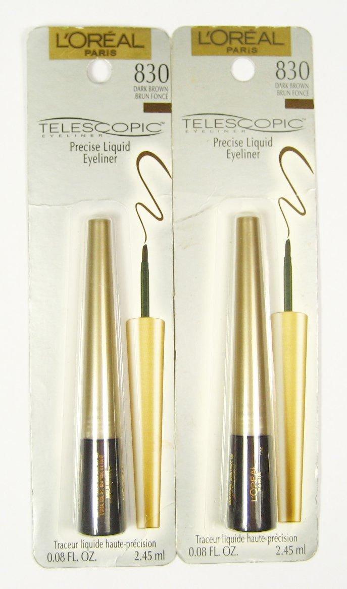 (2-Pack) L'Oreal Telescopic Precision Liquid Eyeliner, Dark Brown 830