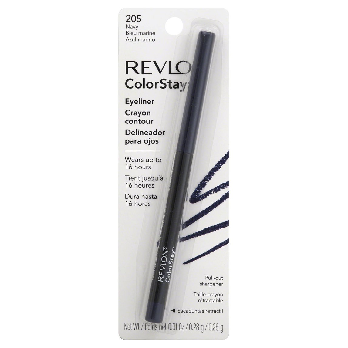 Revlon ColorStay Eyeliner with Sharpener, Navy 205, 0.01 Oz (28 g)