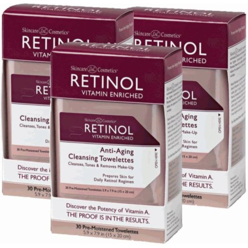 Retinol Anti-Ageing Cleansing Towelettes, 30 Count (Pack of 3)