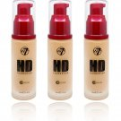 (3-Pack ) W7 - HD Foundation, Fresh Beige (12 Hours)  30ml