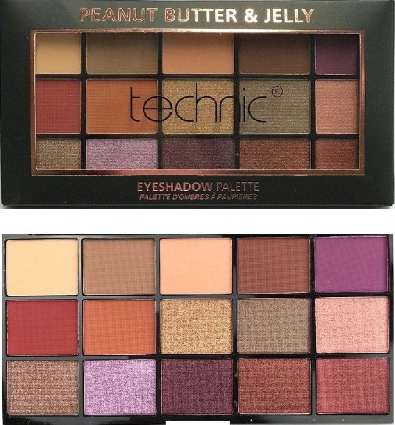 Technic X 15 Eyeshadow Palettes - Peanut Butter & Jelly