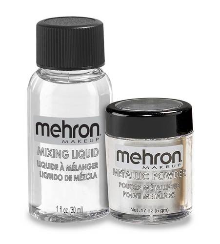 Mehron Metallic Powder with Mixing Liquid - Silver (129-ML-GD)