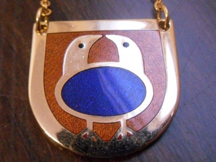 Modernist de Passille Sylvestre 2 birds enamel necklace