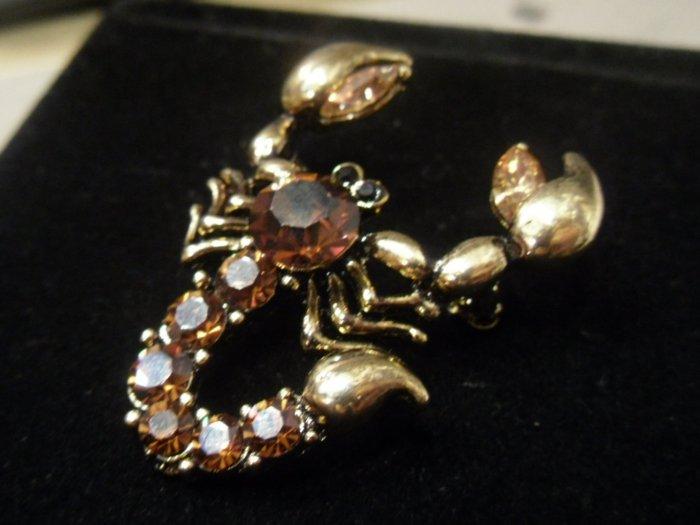 Austrian crystal scorpion brooch costume jewelry