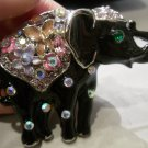 Austrian crystal elephant brooch costume jewelry