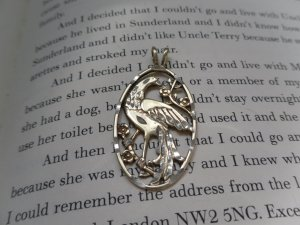 Vintage Gold-Plated Silver Oval Bird Pendant