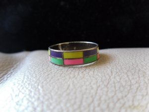 Vintage Silver Multicolored Rectangle Pattern Ring (size 7)